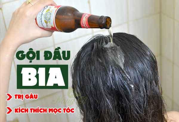 Cách dùng bia gội dầu trị gàu và kích thích mọc tóc