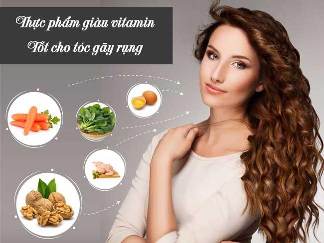 Tóc gãy rụng nhiều cần bổ sung thực phẩm giàu vitamin