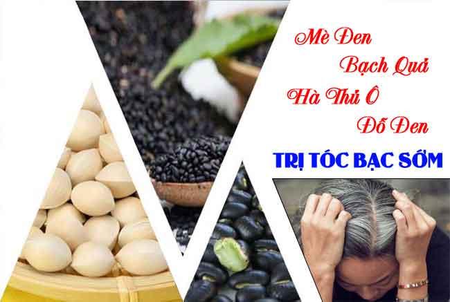 Trị tóc bạc bằng mè đen bạch quả hà thủ ô đậu đen
